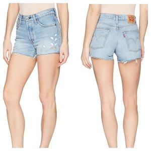 NEW Levi's 501 Floral Eyelet Cut Out Shorts - 24